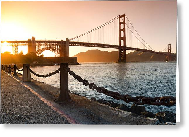 Sean Davey Greeting Cards - Golden Gate Chain Link Greeting Card by Sean Davey