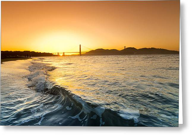 Golden Gate Curl Greeting Card by Sean Davey