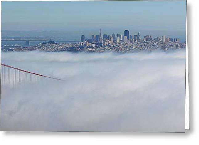 Hawk Hill Greeting Cards - Golden Gate Fog Pano Greeting Card by Ryan Moyer