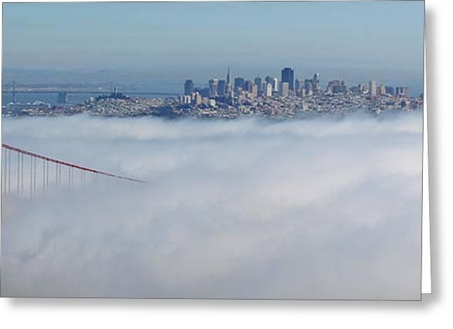 Golden Gate Fog Pano Greeting Card by Ryan Moyer