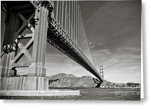 Golden Gate From The Water - Bw Greeting Card by Darcy Michaelchuk