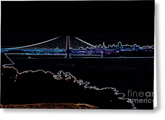 Buildings By The Ocean Greeting Cards - Golden Gate in Neon Greeting Card by Heather Joyce Morrill
