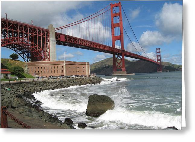 Cityscene Greeting Cards - Golden gate Greeting Card by Kim Pascu