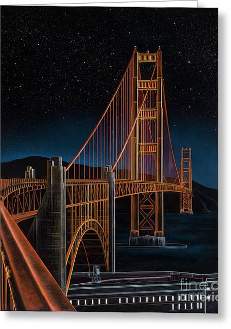 Points Mixed Media Greeting Cards - Golden Gate Greeting Card by Lynette Cook