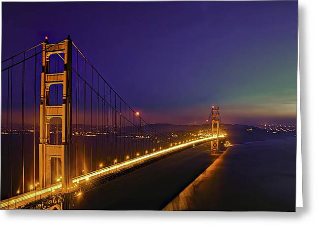Ocean. Reflection Greeting Cards - Golden Gate Greeting Card by Maria Coulson