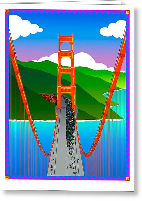 Silk Screen Greeting Cards - Golden Gate Greeting Card by Phil Dynan