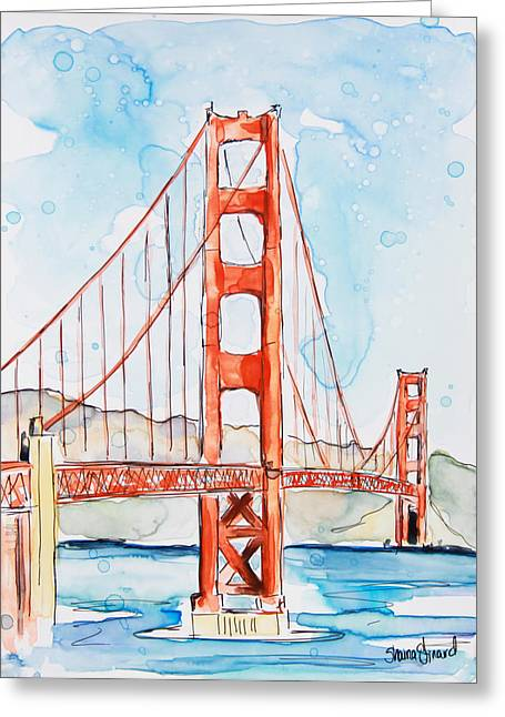 Yupo Paper Greeting Cards - Golden Gate Greeting Card by Shaina Stinard