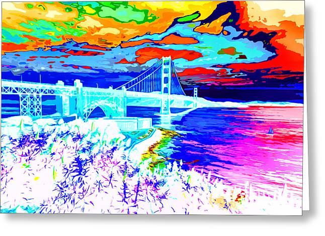 San Francisco Bay Greeting Cards - Golden Gate Snowy Fantasy Greeting Card by Ron Fleishman