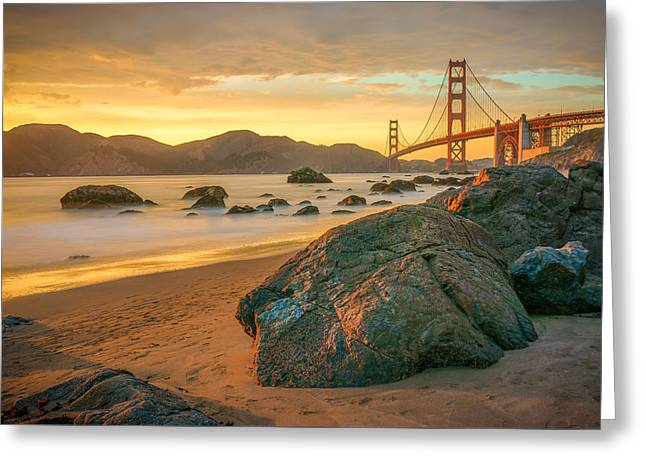 Golden Gate Greeting Cards - Golden Gate Sunset Greeting Card by James Udall