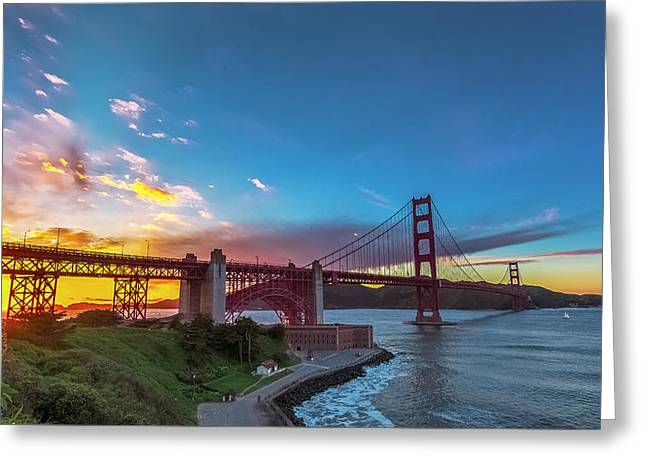 Golden Gate Sunset Greeting Card by Phil Fitzgerald