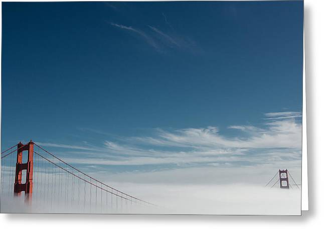 Black Greeting Cards - Golden Gate Through the Fog Greeting Card by Dave Trumpore