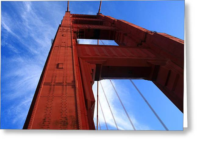 Famous Bridge Greeting Cards - Golden Gate Tower Greeting Card by Aidan Moran