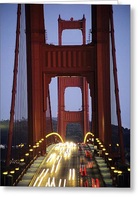Opening Night Greeting Cards - Golden Gate Traffic Greeting Card by Michael Howell - Printscapes