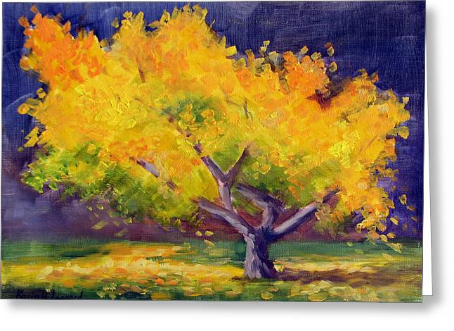 Golden Ginko Greeting Card by Karin  Leonard