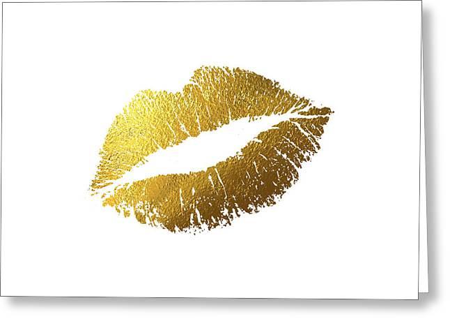 Gold Lips Greeting Card by BONB Creative