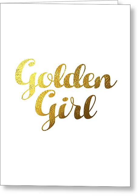 Golden Girl Typography Greeting Card by Bekare Creative