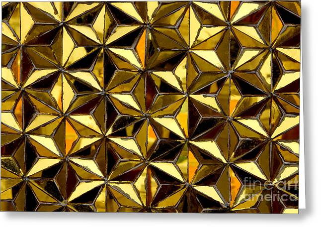 Glass Reflecting Greeting Cards - Golden Glass Seamless Mosaic Greeting Card by Noppharat Manakul