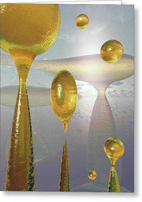 Golden Globs Greeting Card by Richard Rizzo