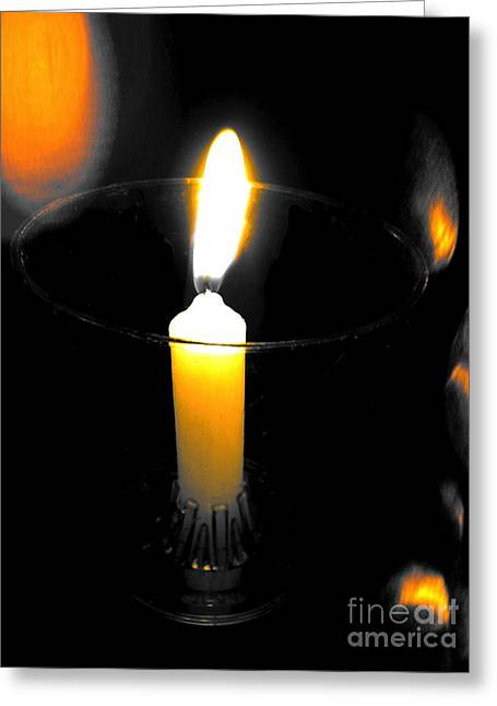 Candle Lit Greeting Cards - Golden Glow Greeting Card by Linda James