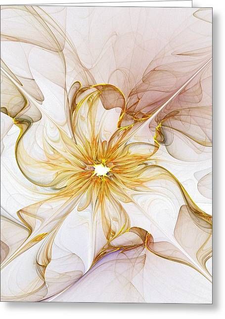 Abstract Digital Art Greeting Cards - Golden Glow Greeting Card by Amanda Moore