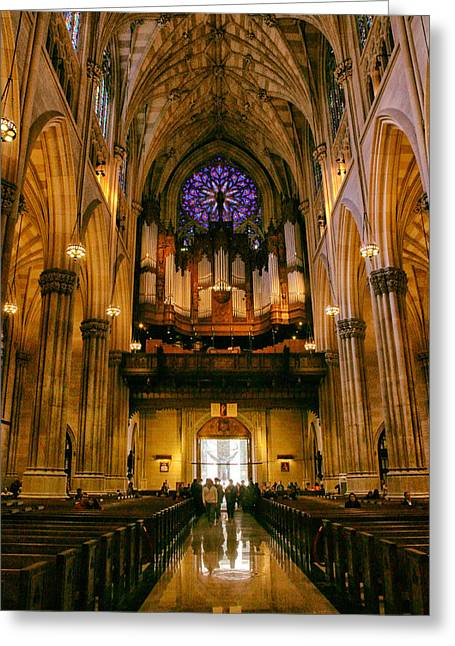 Golden Glow Of St.patrick's Cathedral Greeting Card by Jessica Jenney