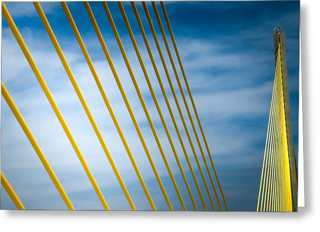Florida Bridge Greeting Cards - GOLDEN GLOW of TAMPA Greeting Card by Karen Wiles