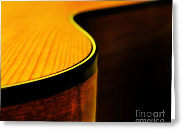 Golden Guitar Curve Greeting Card by Deborah Smith