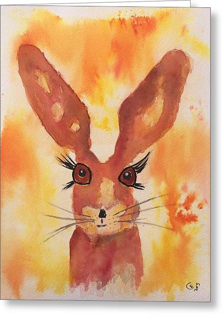 March Hare Paintings Greeting Cards - Golden Hare Greeting Card by Karen  Connolly