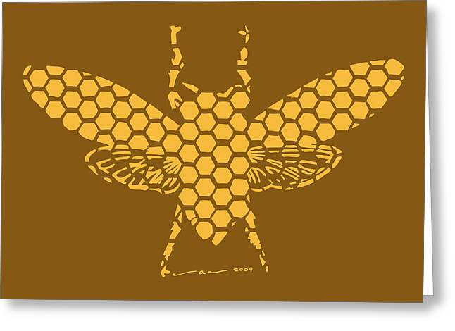 Bees Drawings Greeting Cards - Golden Hex Bee Greeting Card by Karl Addison