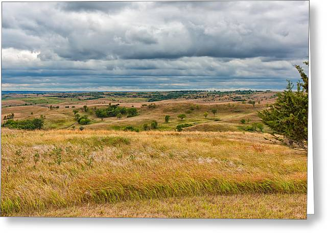 Scenic Drive Greeting Cards - Golden Hills and Darkening Skies Greeting Card by John Bailey