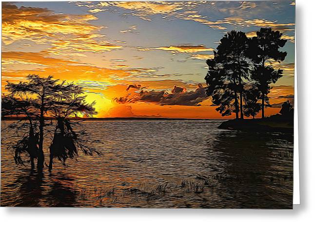 Golden Hour At The Lake Painted Greeting Card by Judy Vincent
