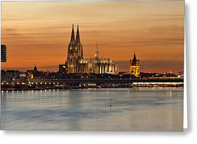 Panorama Greeting Cards - Golden Hour In Cologne Greeting Card by Felix Inden