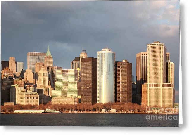 Modern Photographs Greeting Cards - Golden hour Manhattan Greeting Card by Deborah Benbrook