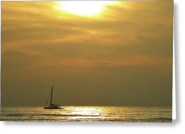 Pacific Ocean Prints Greeting Cards - Golden Kaimana Sunset Greeting Card by Erika Swartzkopf