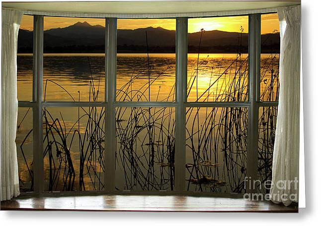 Meeker Greeting Cards - Golden Lake bay Picture Window View Greeting Card by James BO  Insogna