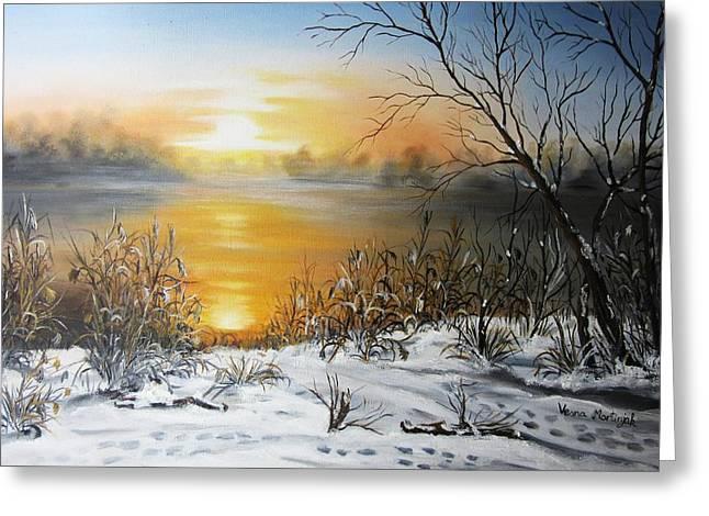 Golden Lake Sunrise  Greeting Card by Vesna Martinjak