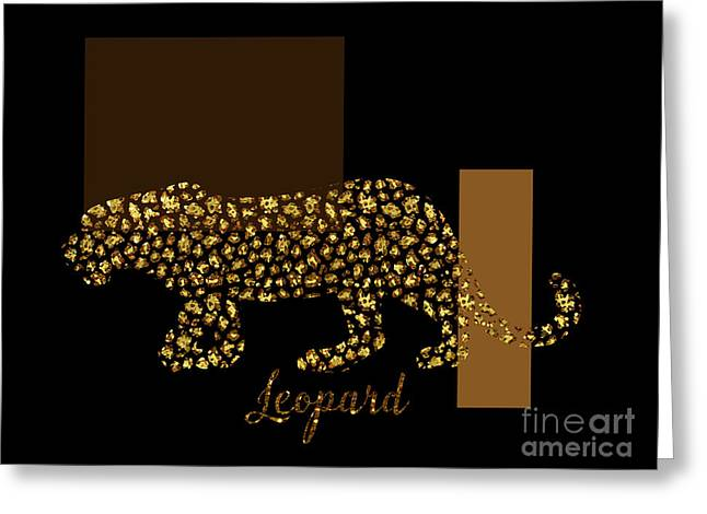 Golden Leopard Modern Gilt Wild Cat, Gold Black Brown Greeting Card by Tina Lavoie
