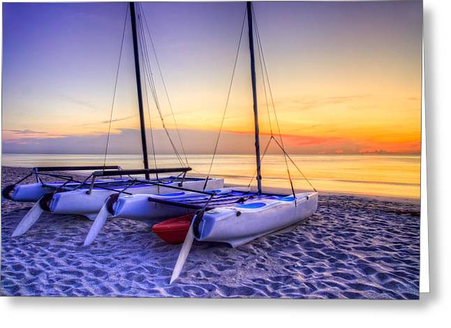 Boats At The Dock Greeting Cards - Golden Light Greeting Card by Debra and Dave Vanderlaan
