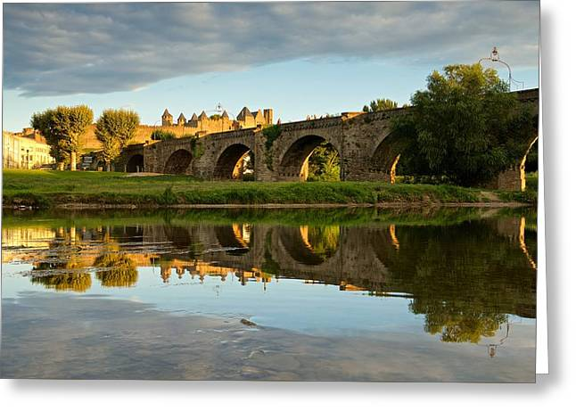 Languedoc Digital Greeting Cards - Golden light in Carcassonne Greeting Card by Stephen Taylor