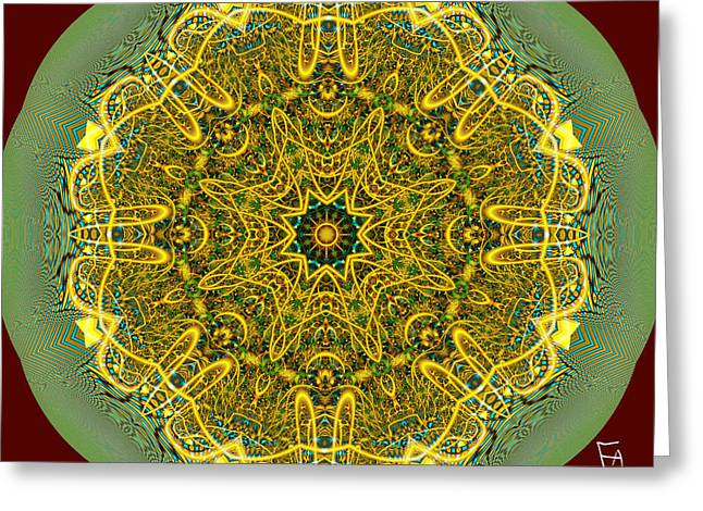 Geometric Art Greeting Cards - Golden Line of Hope Greeting Card by Edward Anderson
