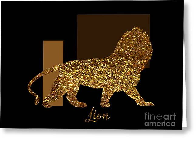 Golden Lion Modern Composition, Gold Black Brown Greeting Card by Tina Lavoie