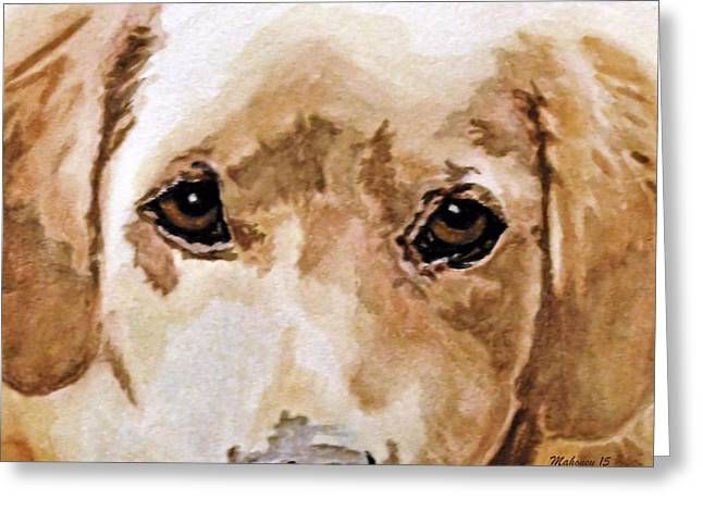 Puppies Paintings Greeting Cards - Golden Loyalty Greeting Card by Dwella Mahoney