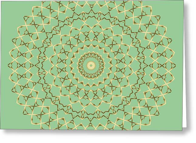 Festivities Greeting Cards - Golden Mandala on Mint Greeting Card by Lena Kouneva