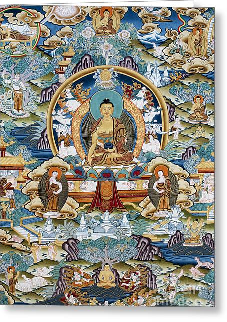 Golden Medicine Buddha Thangka Greeting Card by Tim Gainey