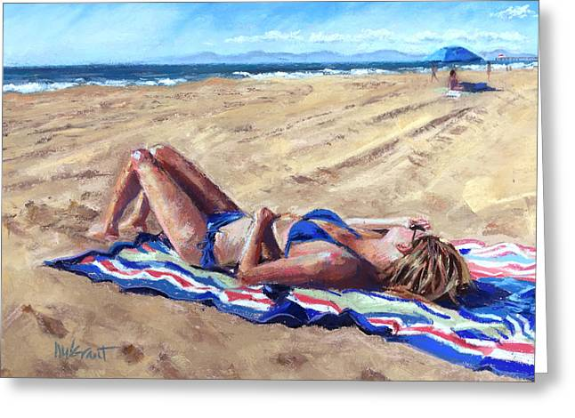 Sunbathing Pastels Greeting Cards - Golden Greeting Card by Michelle Wells Grant