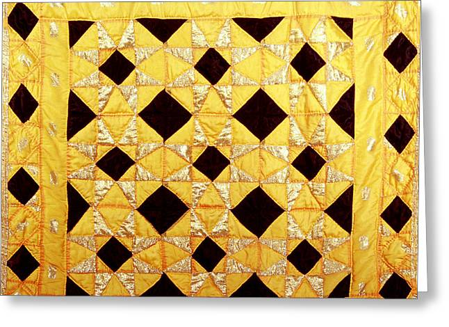 Wall Tapestries - Textiles Greeting Cards - Golden Greeting Card by Mildred Thibodeaux