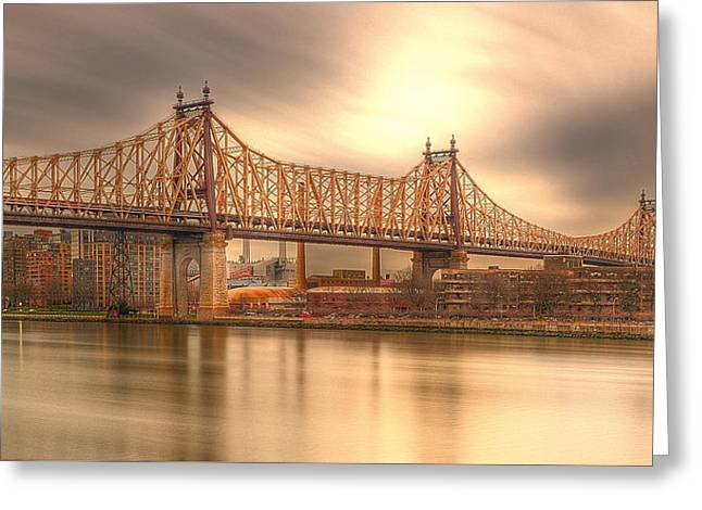 Long Street Greeting Cards - Golden Moment on the 59th Street Bridge Greeting Card by Kenneth Laurence  Neal