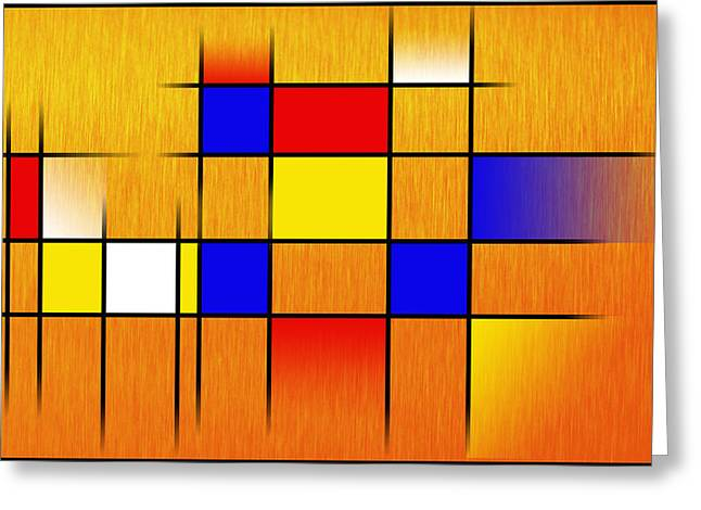 Abstract Digital Digital Greeting Cards - Golden Mondrian Greeting Card by Peter Leech