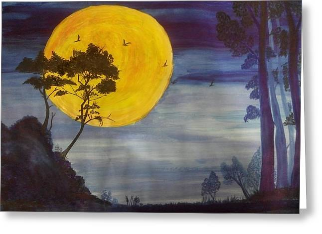 Golden Moon Greeting Card by Archana Saxena