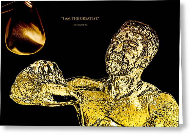 Boxer Digital Art Greeting Cards - Golden Muhammad Ali  Greeting Card by Brian Reaves